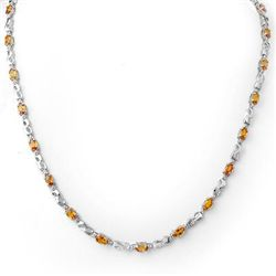 Genuine 9.02 ctw Orange Sapphire & Diamond Necklace 10K