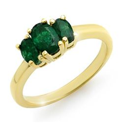 Genuine 1.0 ctw Emerald Ring 10K Yellow Gold