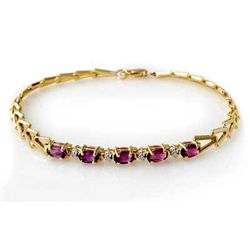 Genuine 1.03 ctw Amethyst Bracelet 10K Yellow Gold