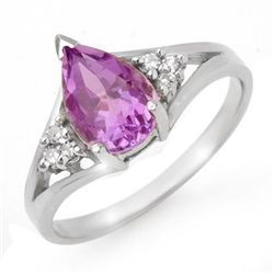 Genuine 1.35 ctw Amethyst & Diamond Ring 10K White Gold