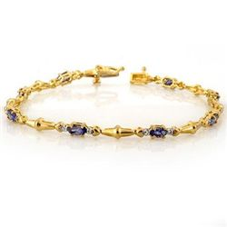 Genuine 2.75 ctw Tanzanite & Diamond Bracelet 10K Gold