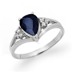 Genuine 1.81 ctw Sapphire & Diamond Ring 10K White Gold