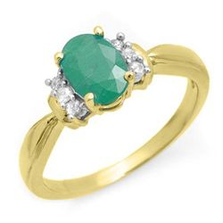 Genuine 0.96 ctw Emerald & Diamond Ring 10K Yellow Gold