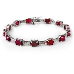 Genuine 14.54 ctw Ruby & Diamond Bracelet White Gold
