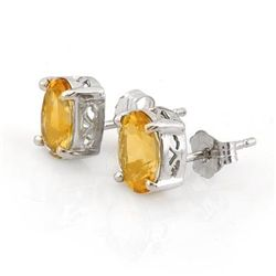 Genuine 1.50 ctw Citrine Stud Earrings 14K White Gold