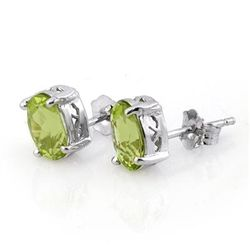 Genuine 2.0 ctw Peridot Stud Earrings 14K White Gold