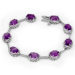 Genuine 16.33 ctw Amethyst & Diamond Bracelet 10K Gold