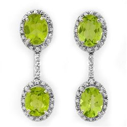 Genuine 8.10 ctw Peridot & Diamond Earrings White Gold