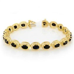 Genuine 12.0 ctw Blue Sapphire Bracelet 10K Yellow Gold