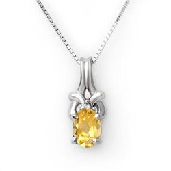 Genuine 0.67 ctw Citrine & Diamond Necklace White Gold