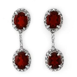 Genuine 8.10 ctw Garnet & Diamond Earrings White Gold