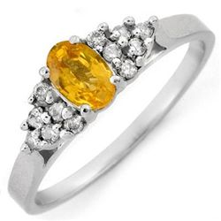 Genuine 0.50ctw Yellow Sapphire & Diamond Ring 10K Gold