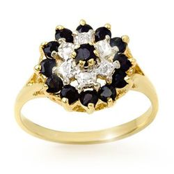 Genuine 1.02ctw Sapphire & Diamond Ring 10K Yellow Gold