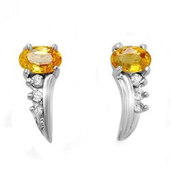 Genuine 0.80ctw Yellow Sapphire & Diamond Earrings Gold