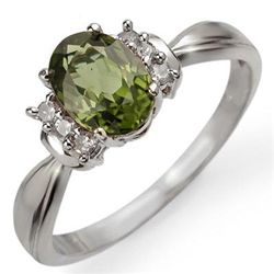 Genuine 1.06ct Green Tourmaline & Diamond Ring 10K Gold