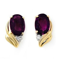 Genuine 1.03ctw Amethyst & Diamond Earrings Yellow Gold