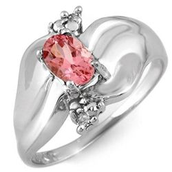Genuine 0.54 ctw Pink Tourmaline &amp; Diamond Ring Gold