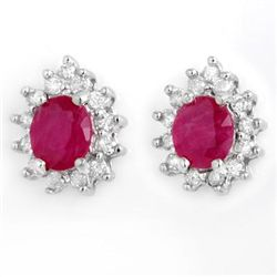 Genuine 4.44 ctw Ruby & Diamond Earrings White Gold
