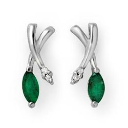 Genuine 0.50 ctw Emerald & Diamond Earrings White Gold