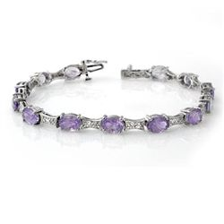 Genuine 12.04 ctw Tanzanite & Diamond Bracelet 10K Gold