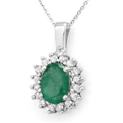 Genuine 3.48 ctw Emerald & Diamond Pendant White Gold