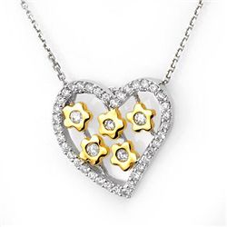 Natural 0.45 ctw Diamond Necklace 10K Multi tone Gold