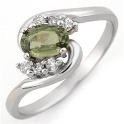 Genuine 0.70 ctw Green Sapphire & Diamond Ring Gold