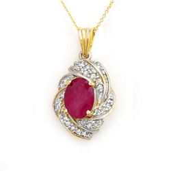 Genuine 3.87 ctw Ruby & Diamond Pendant Yellow Gold