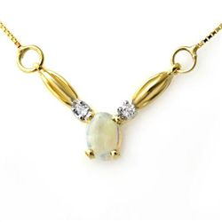 Genuine 1.30 ctw Opal & Diamond Necklace Yellow Gold