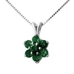 Genuine 0.75 ctw Emerald Pendant 10K White Gold
