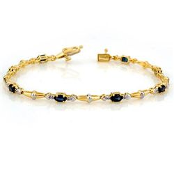 Genuine 2.75 ctw Blue Sapphire & Diamond Bracelet Gold