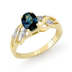 Genuine 1.13ctw Sapphire & Diamond Ring 10K Yellow Gold