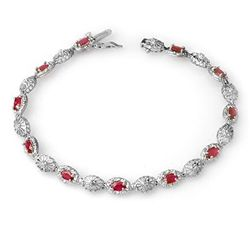 Genuine 4.17 ctw Ruby & Diamond Bracelet 10K White Gold