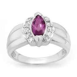 Genuine 1.57 ctw Amethyst & Diamond Ring 10K White Gold