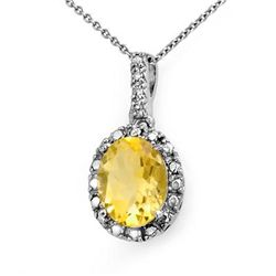 Genuine 2.05 ctw Citrine &amp; Diamond Pendant White Gold
