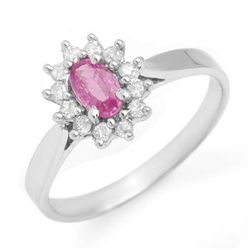 Genuine 0.83 ctw Pink Sapphire &amp; Diamond Ring 14K Gold