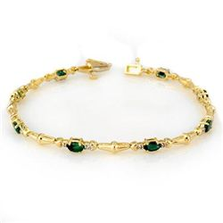 Genuine 2.75 ctw Emerald & Diamond Bracelet Yellow Gold