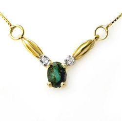 Genuine 1.30 ctw Emerald & Diamond Necklace Yellow Gold