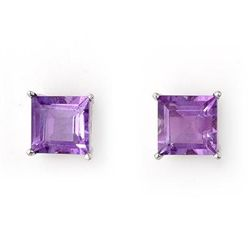 Genuine 2.0 ctw Amethyst Earrings 14K White Gold