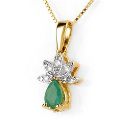 Genuine 0.50 ctw Emerald & Diamond Necklace Yellow Gold