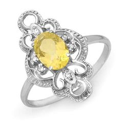 Genuine 0.81 ctw Citrine & Diamond Ring 10K White Gold