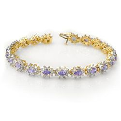 Genuine 10.0 ctw Tanzanite & Diamond Bracelet 14K Gold