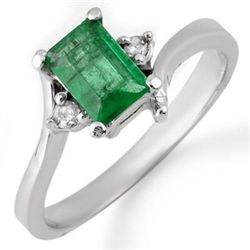 Genuine 0.60 ctw Emerald & Diamond Ring 10K White Gold