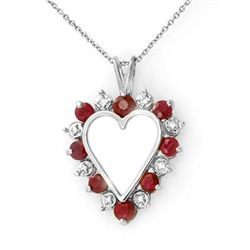 Genuine 1.01 ctw Ruby &amp; Diamond Pendant White Gold