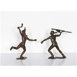 Fighting Indians (Pair), Bronze Sculptures