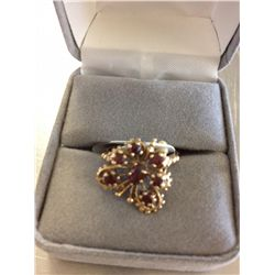 14K GOLD GARNET BUTTERFLY RING
