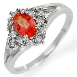 Genuine 0.95ctw Orange Sapphire & Diamond Ring 10K Gold