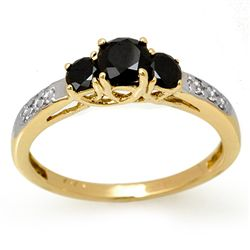Natural 0.80 ctw White & Black Diamond Ring 14K Gold