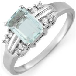 Genuine 1.41 ctw Aquamarine & Diamond Ring 10K Gold