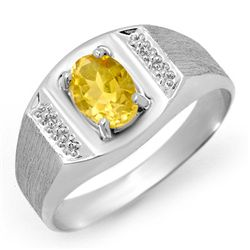 Genuine 2.0 ctw Citrine Men's Ring 10K White Gold